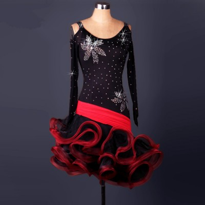 Red black patchwork colored rhinestones mesh fabric long sleeves women's ladies female competition professional latin samba salsa cha cha dance dresses