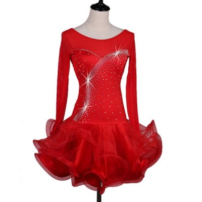 Red long sleeves ruffles skirts women's ladies rhinestones competition professional latin salsa rumba dance dresses