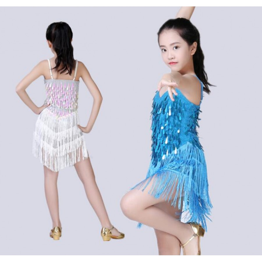 Kids children latin dresses girls performance competition salsa ...