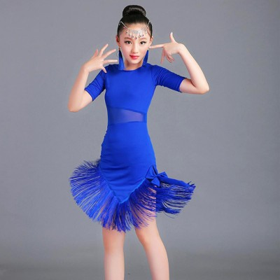 Girls latin dance dresses professional rumba salsa children kids red blue black competition chacha performance dresses