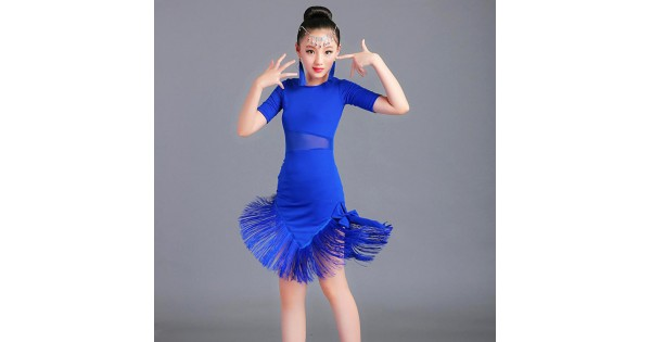 288679bb8 Girls latin dance dresses professional rumba salsa children kids red blue  black competition chacha performance dresses- Material: microfiber and  spandex ...