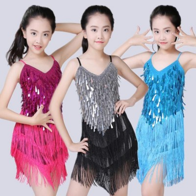 Kids children latin dresses girls performance competition salsa sequined fringed dancing dresses