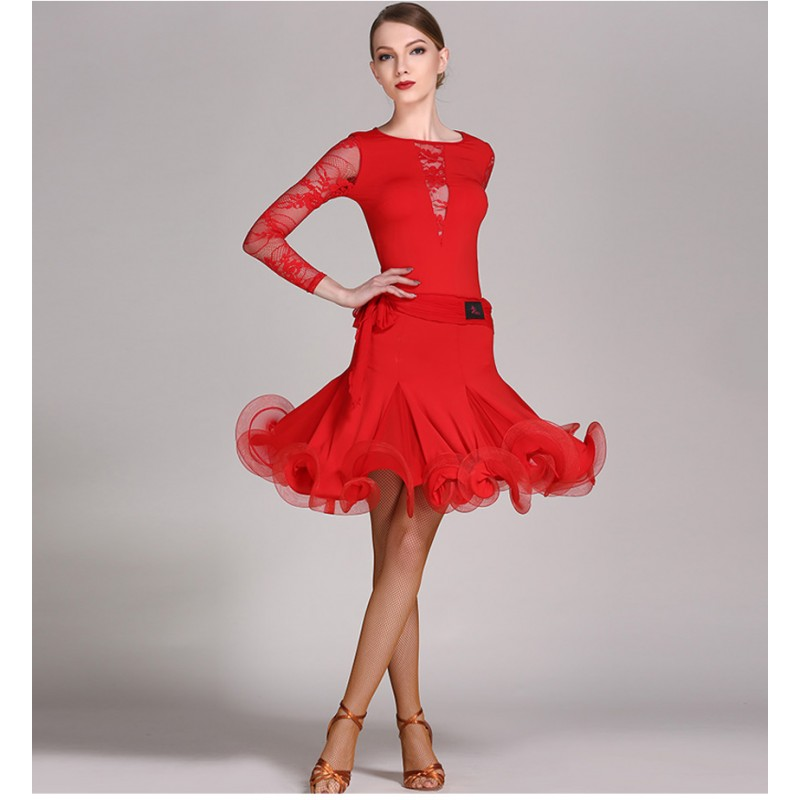 Long Sleeve Latin Salsa Dance Dresses Ladies Latin Ballroom Dance Competition Dress Women Dance Standard Costumes