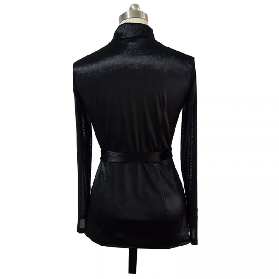 6639da1e9c1 Men Black Latin Dance Tops For Male Long Sleeve M-XL Soft Milk Silk ...