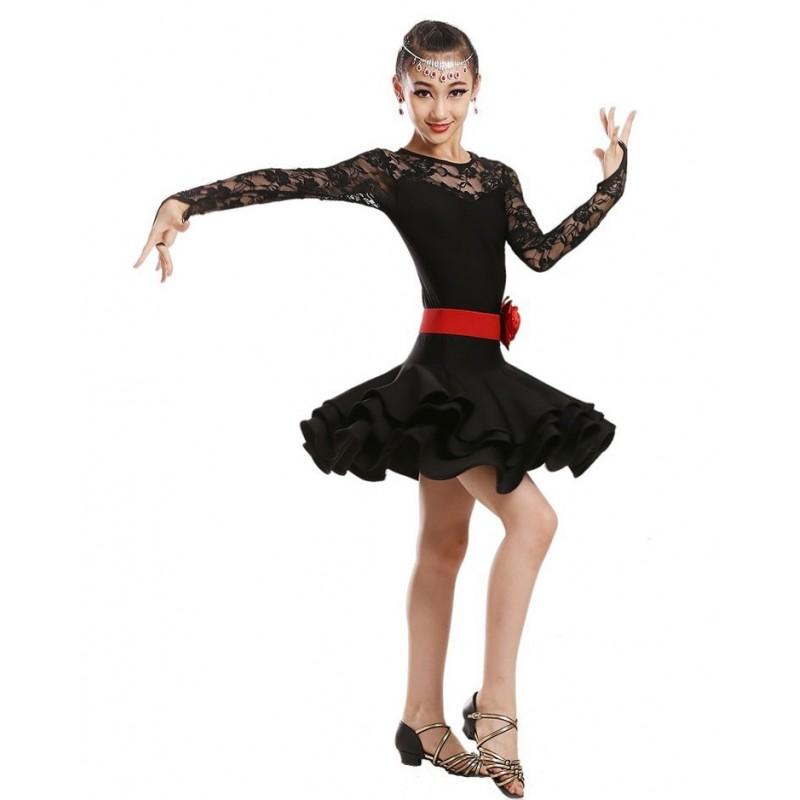 63c4b5f5c8f2d Children latin Dance Dress For Girls Cha-Cha Kids Competition ballet ...