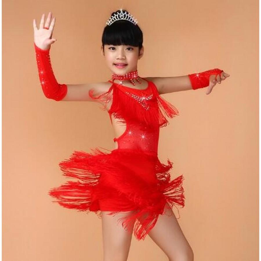 112193d648c9 Girls latin dresses Sequin Fringe Blue Pink Black Red Latin Salsa ...