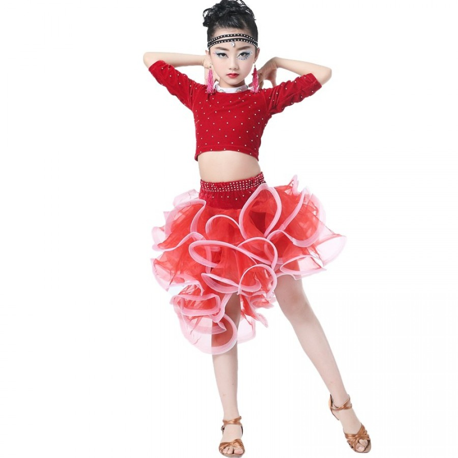 ccfad304a girls latin dress danse dresses latin tops flamengo skirt child kid ...