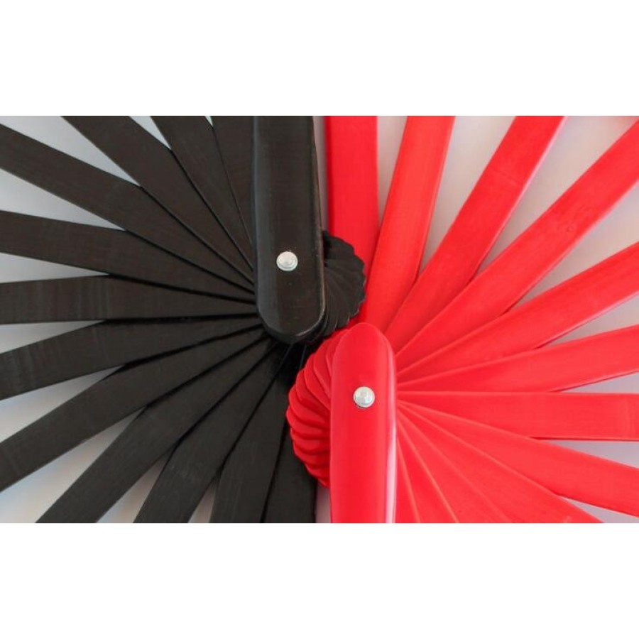 Tai chi fan bamboo kung fu fan- Color: black-redMaterial