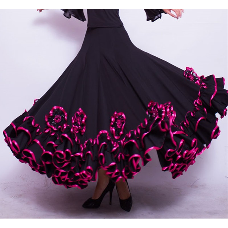 Ballroom Dancing Skirt Red Black Women Waltz Tango Flamenco Dance Dress Lady's Cheap Ballroom Competition Dresses