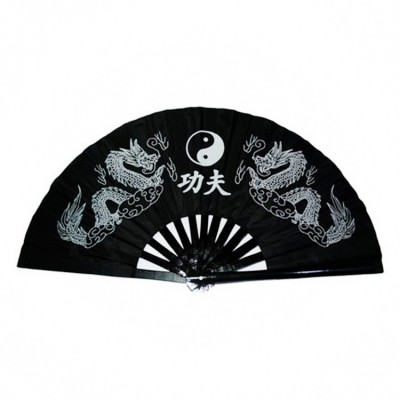 Black Taiji Kung Fu Fan pure plastic Taiji Fan Tai Chi fan double side fan right and left hand