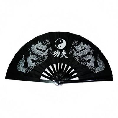 Black Taiji Kung Fu Fan pure plastic Taiji Fan Tai Chi fan double side fan right and left hand
