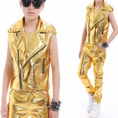 Boy gold leather jazz dance outfits for kids rivet gold glitter drummer model party drummer singers host stage performance model show competition costumes