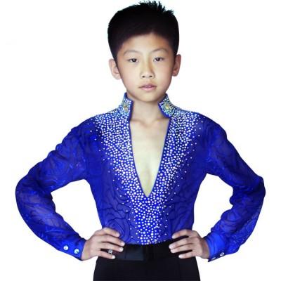 Boy royal blue black white Latin Dance Competition shirts and pants Kids Boys v neck diamond Latin Ballroom Dance tops Performance Clothing