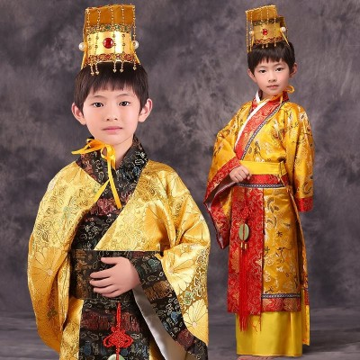 Boys chinese emperor costume palace king dress with head wearing Halloween clothing cosplay clothes