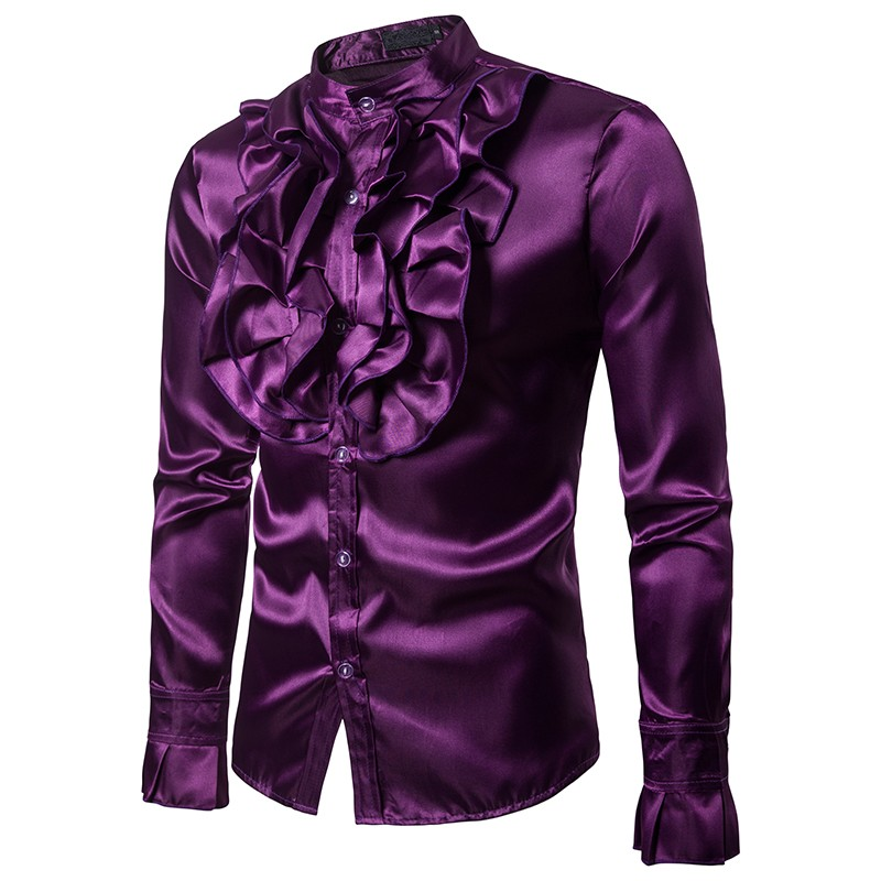 British court lotus leaf fungus lace collar satin long-sleeved shirt male glossy shirt banquet host singer shirt