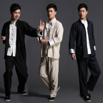 Bruce lee Wing Chun tai chi martial arts clothing set kung fu uniform chinese traditional Tang suits men's clothes Jacket+pants