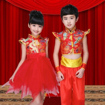 Child martial arts performance clothing Chinese knot song costume Playing dance drums Open red dance costume