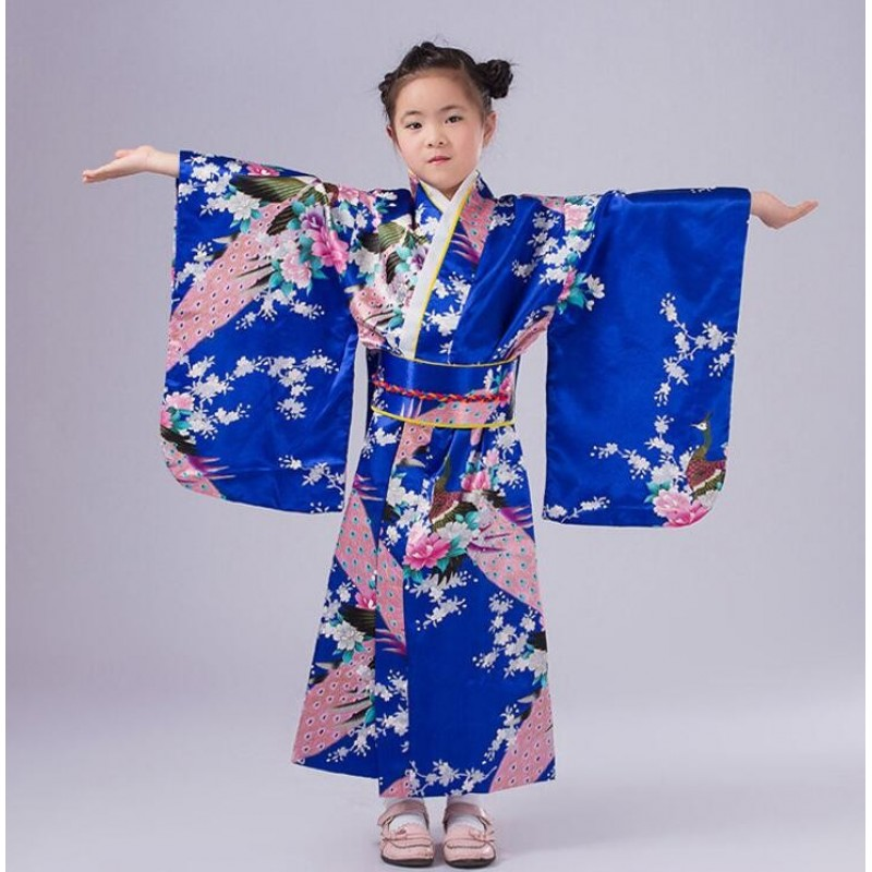 Child Silk Print Floral Peacock Dress Robes Japanese Girls Kimono Children Portray Kids Perform Dance Costumes