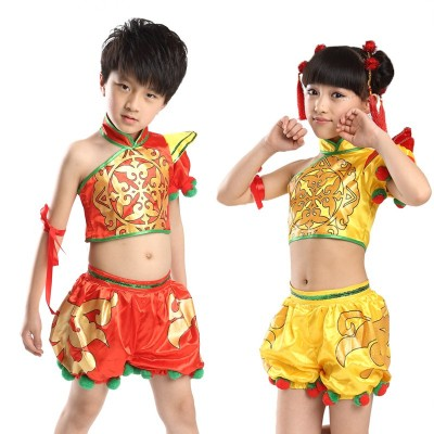 Child Yangko Dance Costume Girl Chinese New Year Stage Dance Clothing New Chinese Folk Dance Dress Kids National Clothes