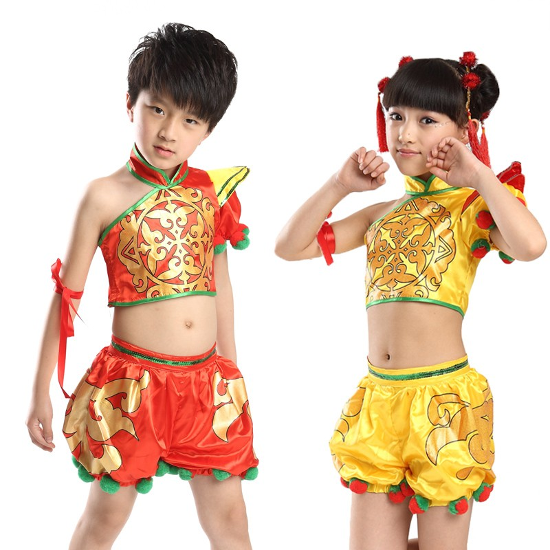 fb5305d41 Child Yangko Dance Costume Girl Chinese New Year Stage Dance Clothing New  Chinese Folk Dance Dress Kids National Clothes