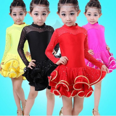 Children  girls pink black red lace long sleeves latin dance dresses stage performance latin dance costumes