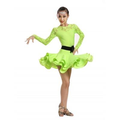 Children green pink black lace latin Dance Dress For Girls Cha-Cha Kids Competition ballet Dress Dancing  Girl Class Dancewear Latin Costume