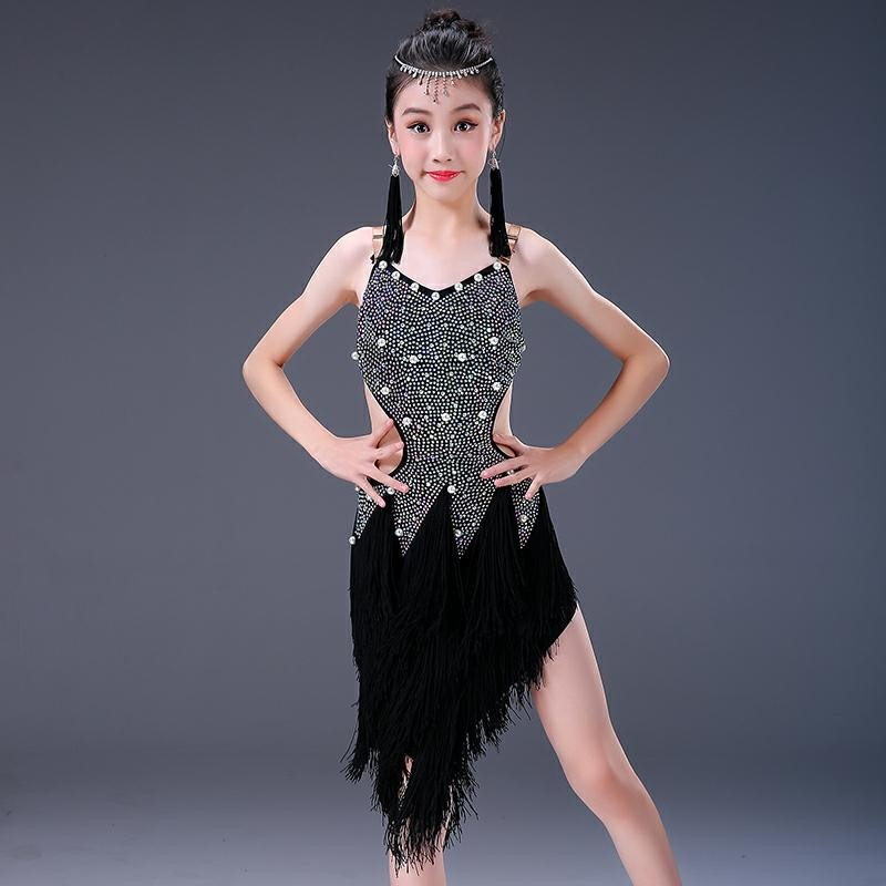 bda8e7a5ee693 Children Latin dance clothing girl hot diamond fringed children Latin dance  skirt girl performance Costume