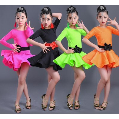 Children Latin Dancewear Competition Dancing Clothing Girl Dance Costume Child Latin Ballet Dance Dress For Girls