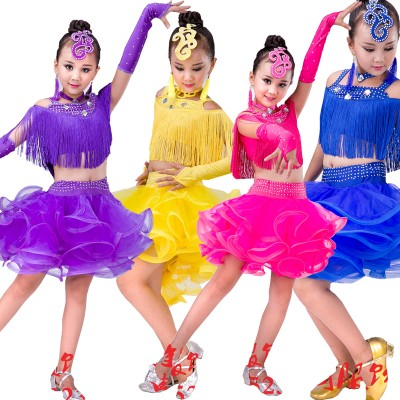 Children Samba Competition Ballroom Dresses Salsa Edge Dresses Children Trams Latin Professional Sequins Dance Clothing Clothing