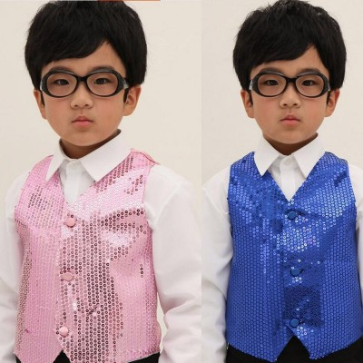 Children Shining Clothes Boys Choir Students Performance Costumes Kids Hip-hop Jazz Dance Sequined Vest Stage Dance Wear
