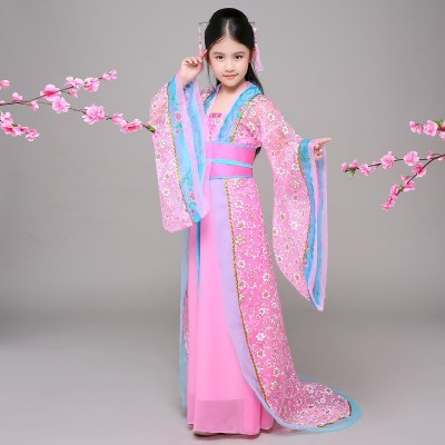 Children's costume, female Hanfu, girl, zither, skirt, fresh and elegant, performance costume, imperial concubine, fairy dress, Chinese style.