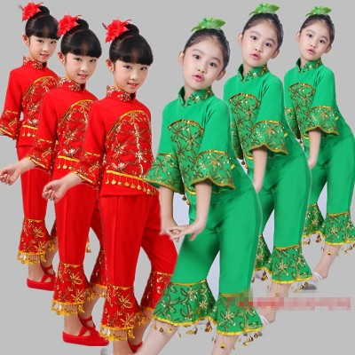 Children's performance costumes, girls' folk dance, yangko dance performance, new year's day, children's dancing dress, red green.