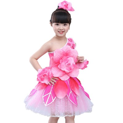 Children's dance costumes girls costumes peony lotus fairy princess skirt flower girl show costume