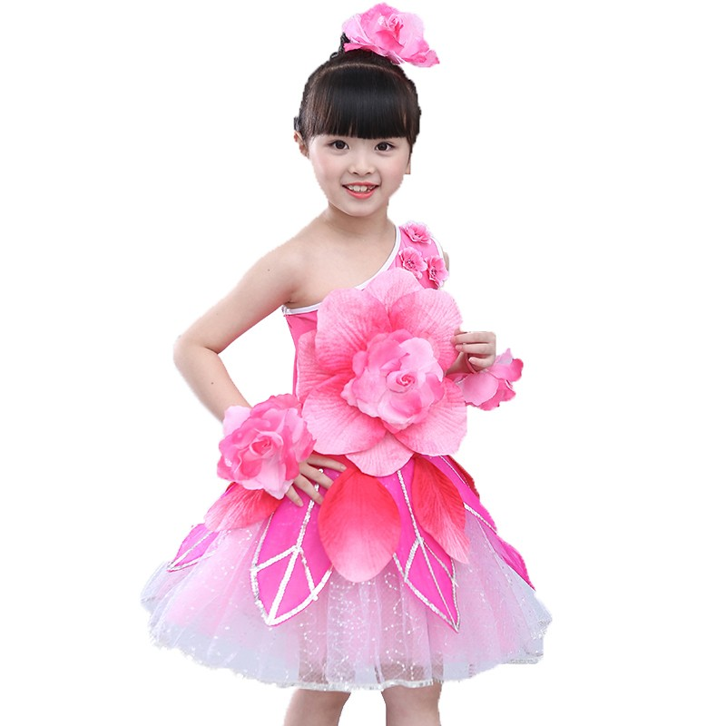 Children's dance costumes girls costumes peony lotus fairy princess skirt flower girl show costume
