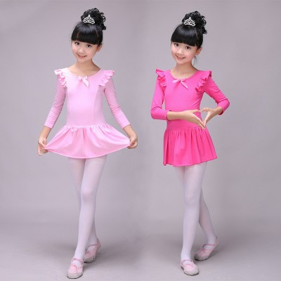 Children's dance wear girls Latin long-sleeved practice clothes shape clothing test clothes children's ballet dance skirt