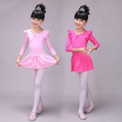 Children's dance wear girls Latin long-sleeved practice clothes shape clothing test clothes children's ballet dance skirt