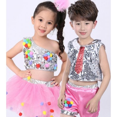 Children's folk dance costumes Children's Day costumes kindergarten dance costumes girls fluffy skirt jazz dance sequin performance clothing