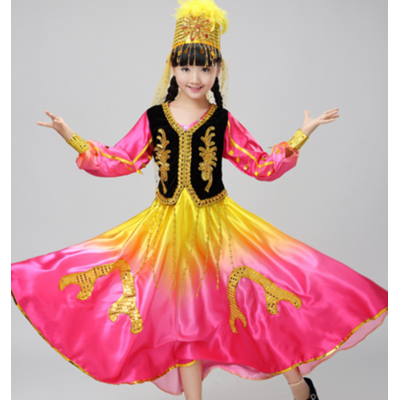 Children's minority stage performance costumes girls India 360 degree large dress