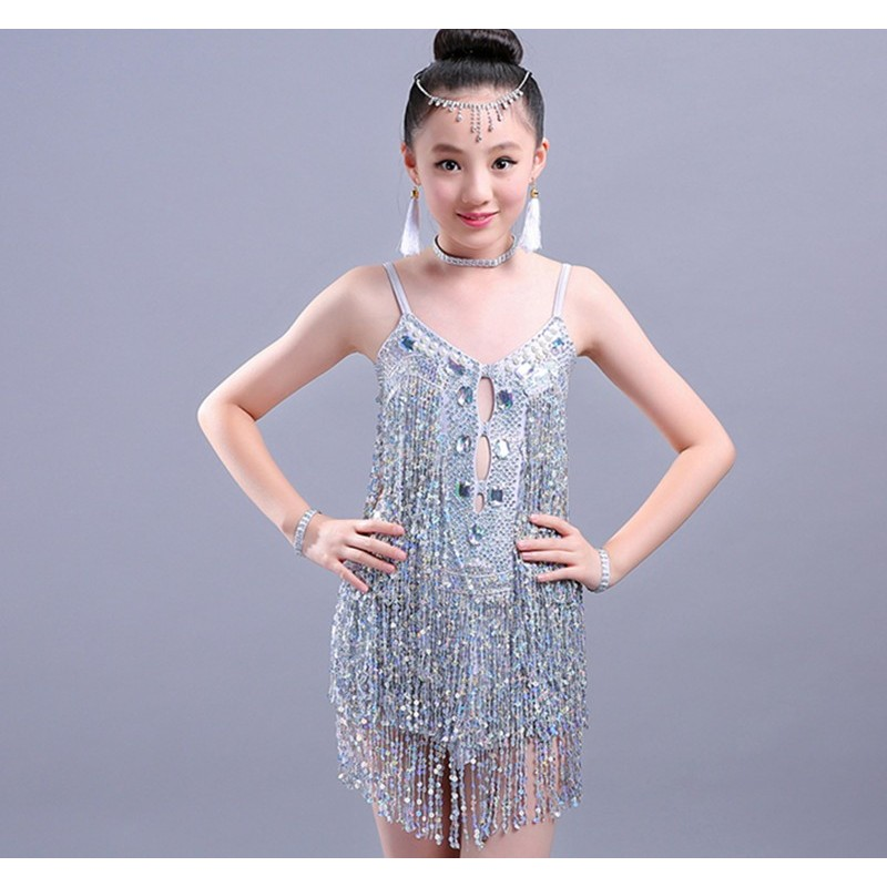 Children's sequined fringed dress Children's Latin dance skirts, girls' performance costumes, training competitions, performance costumes, children's Latin dance costumes.