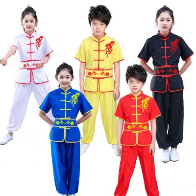 Children's short-sleeved Wushu clothing practice clothes children's kungfu clothes