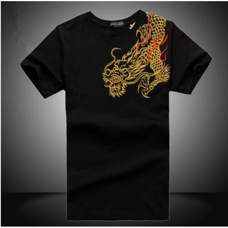 China National Wind Dragon embroidery shirts kung fu Shirt tops Summer short-sleeve High-quality cotton t shirt