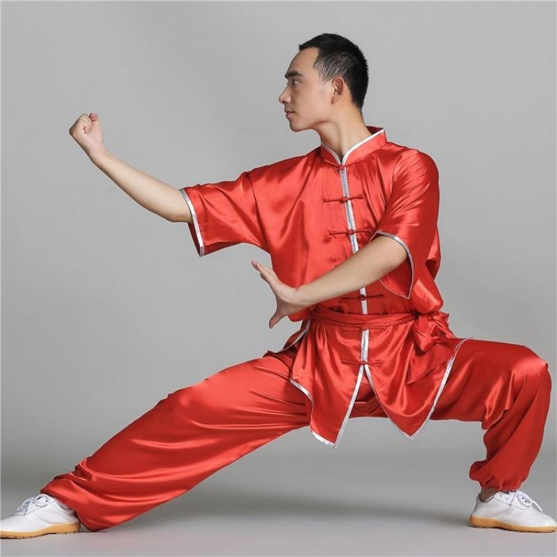 China Style Satin Kung Fu uniforms Short Sleeve red blue white Martial Tai Chi Uniform Wushu Clothing Women Men Kids Clothes Costumes