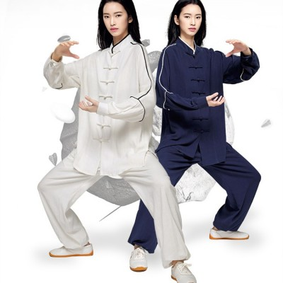 China Taichi kung fu Uniforms for women female linen cotton breathable material sports fitness martial wushu tops and pants