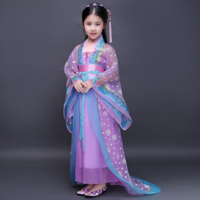 Chinese Folk Dance Dress Children's costumes Hanfu trailing dress Tang Dynasty Princess Fairy COS costumes Children's Chinese costumes