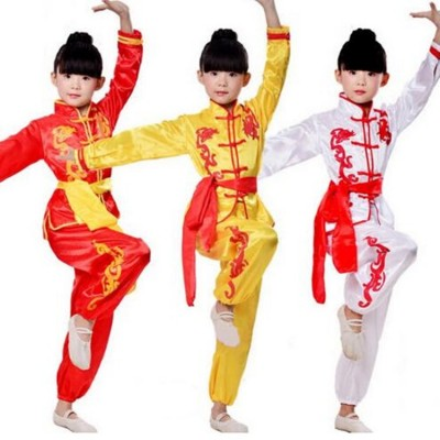 Chinese Kung Fu National Costume Kids Tai Chi Clothing Suits Performance Cloth Martial Art Show Costumes for Boys Girls