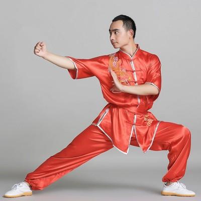 Chinese style Satin Kung Fu Suit short sleeve Martial Art Tai Chi Uniform wushu clothing women men kids clothes costumes