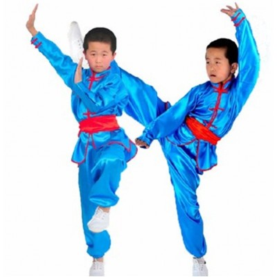 Chinese Traditional Wushu Costume Martial Arts Uniforms for Kids Taichi Clothing Jacket+pant+belt