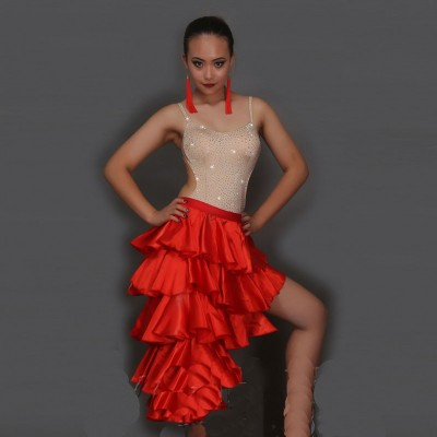 Classical Latin Dance Skirts For Ladies Black Red Clothes Fantasia Women Competitive Paso Doble Fluffy Bullfight Garments