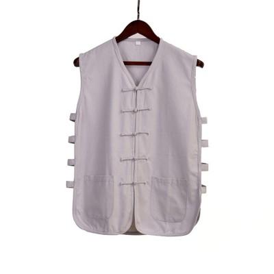 Cotton sleeveless kungfu Vest clothing male old coarse summer Chinese national tang suit Tops tai chi wushu shirt