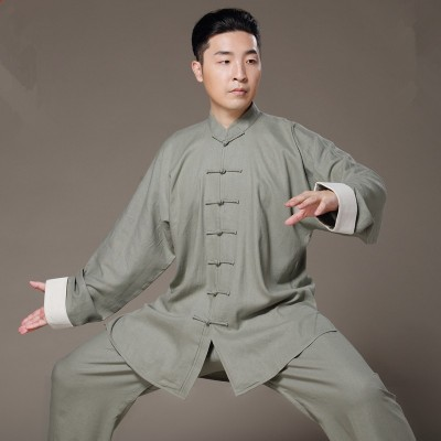 Flax Tai Chi uniform Taiji Boxing Performance Clothing Autumn Summer linen Kung Fu Suit Wing Chun Uniform Chinese style